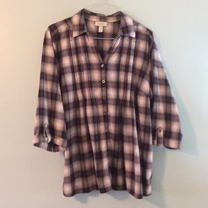 Pintuck yoke & 3/4 sleeve 22/24 soft flannel